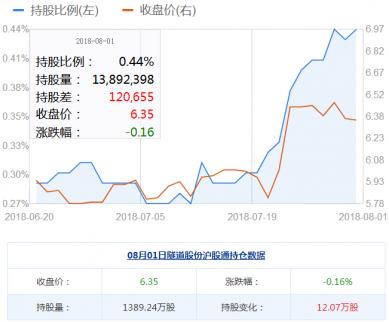 隧道股份股票8月01日获沪股通加仓12.07万股